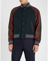 Prada Checked wool and nylon-blend and leather varsity jacket
