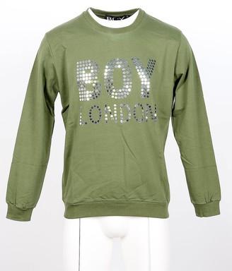 Boy London Green Cotton Signature Mirror Men's Sweater