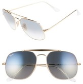 Ray-Ban Women's 57Mm Gradient Lens Square Aviator Sunglasses - Gold/ Blue