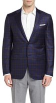Canali Plaid Wool Two-Button Sport Coat, Navy/Brown