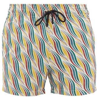 Apnee - Sillage Wave-print Technical Swim Shorts - Mens - Yellow Multi