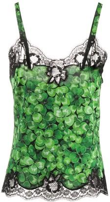 Dolce & Gabbana Clover Print Lace Trim Camisole Top