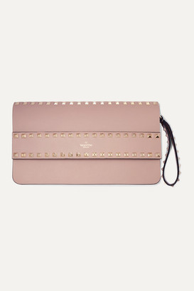 Valentino Garavani Rockstud Leather Clutch - Blush