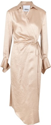 Erika Cavallini Claudia Blush Satin Wrap Dress