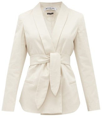 ÀCHEVAL PAMPA Tero Single-breasted Belted Cotton-blend Blazer - Womens - Beige