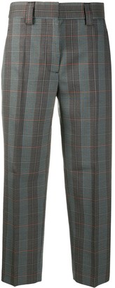 Acne Studios Houndstooth Print Cropped Tailored Trousers