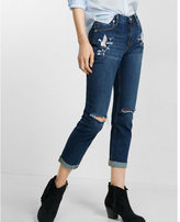 Express embroidered distressed raw hem girlfriend jean
