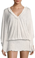 Ale By Alessandra Anja Smocked Coverup Tunic, White