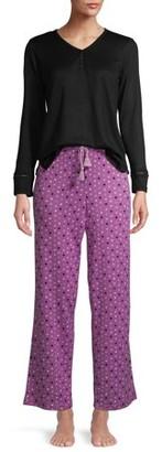 Goodnight Kiss Women's Butter Knit Henley 2-Piece Pajama Set