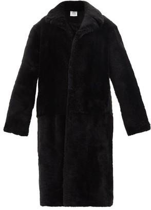 Vetements Notch-lapel Shearling Coat - Black