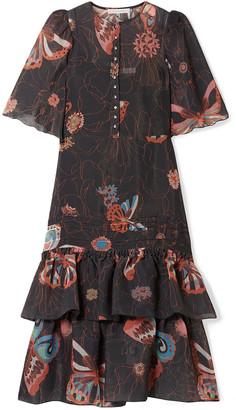 See by Chloe Ruffled Printed Chiffon Midi Dress