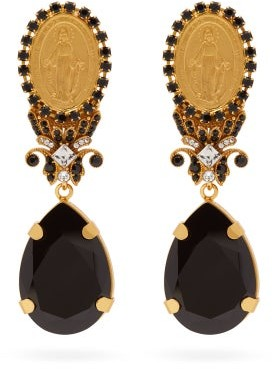 Dolce & Gabbana Crystal Clip Drop Earrings - Black Gold