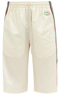 Gucci GG-patch Crinkle Shell Shorts - White Multi