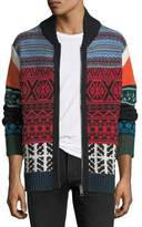 Burberry Patchwork Fair Isle Zip-Front Cardigan