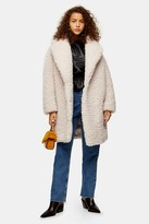 Womens Stone Big Borg Coat Stone, Stone from Topshop on 21 Buttons