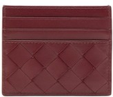 Bottega Veneta Intrecciato Leather Card Holder - Womens - Burgundy