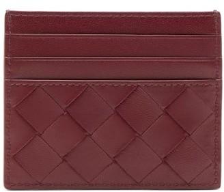 Bottega Veneta Intrecciato Leather Card Holder - Womens - Burgundy