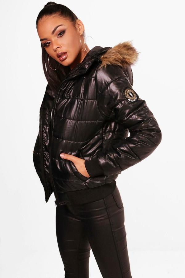 boohoo Faux Fur Hood Bubble Coat
