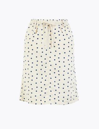 Marks and Spencer Linen Polka Dot Mini A-Line Skirt