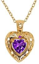 Gem Stone King 0.76 Ct Genuine Heart Shape Amethyst Gemstone 14k Yellow Gold Pendant