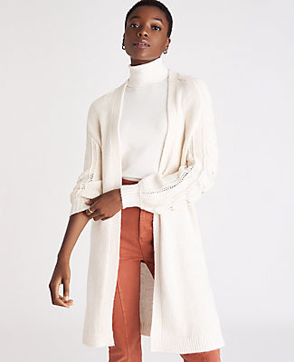 Ann Taylor Petite Cable Knit Sleeve Open Cardigan