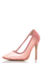 Quiz Blush Pink Mesh Pointed Court Shoes