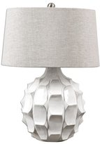 Uttermost 27052 Guerina - One Light Scalloped Table Lamp, Finish with Light Taupe Gray Linen Fabric Shade