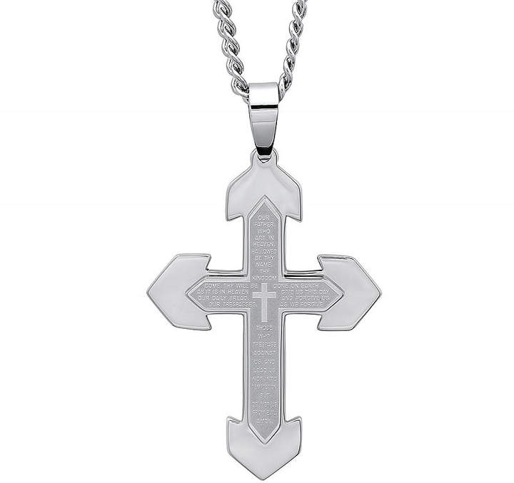 JCPenney FINE JEWELRY Mens Lord's Prayer Stainless Steel Cross Pendant Necklace