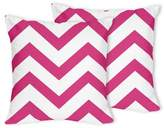 Sweet Jojo Designs Chevron Throw Pillows in Pink and White (Set of 2)