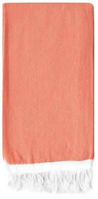 Turkish T Basic Single-Stripe Towel - Coral