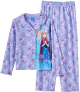 Disney Disney's Frozen Elsa & Anna Girls 4-12 Glitter Button-Front Pajama Set