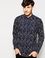 Peter Werth Premium Shirt With All Over Floral Print - Blue