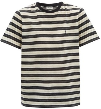 Saint Laurent embroidered Striped Wool T-shirt - Black White