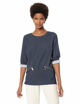 Chaus Women's 3/4 Sleeve 2-Tone Rib Top w/Zippers