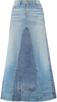 Current/Elliott The Reconstructed paneled stretch-denim maxi skirt