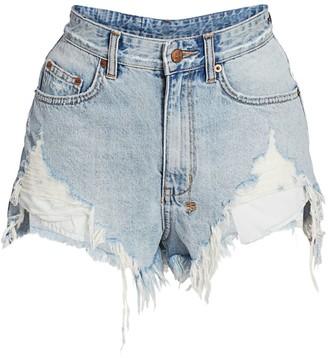 Ksubi Bring Back Life Rise N High Distressed Denim Shorts