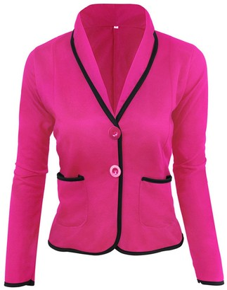 Kalorywee Sale Cleance Blazer KaloryWee Short Blazer Jacket Women Business Coat Blazer Suit Long Sleeve Tops Slim Jacket Outwear Size S-6XL Hot Pink