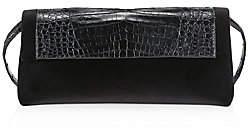 Nancy Gonzalez Women's Gotham Crocodile-Trimmed Velvet Clutch