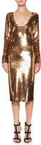 Tom Ford Sequined Long-Sleeve Scoop-Neck Dress, Brown