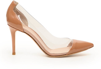 Gianvito Rossi PLEXI 85 PUMPS 37 Beige Leather