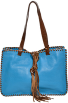 Carla Mancini French Blue & Brown Whipstitch Leather Tote