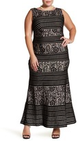 Sangria Sleeveless Sequined Lace Maxi Dress (Plus Size)