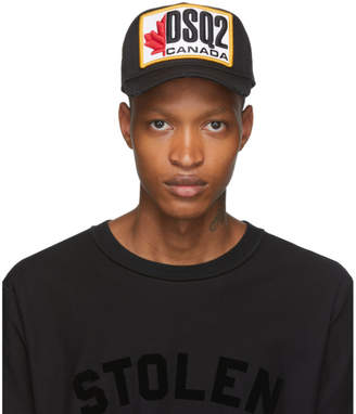 DSQUARED2 Black Patch Embroidered Baseball Cap