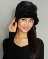 The Fur Vault Knitted Mink Fur Rosette Hat