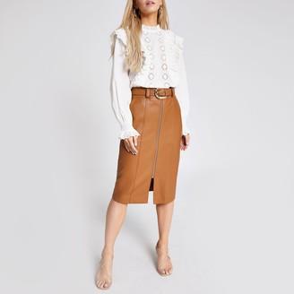 River Island Womens Petite Brown faux leather midi pencil skirt
