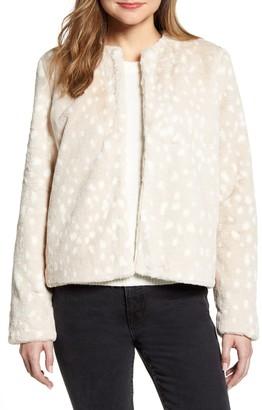 Rachel Parcell Printed Faux Fur Coat