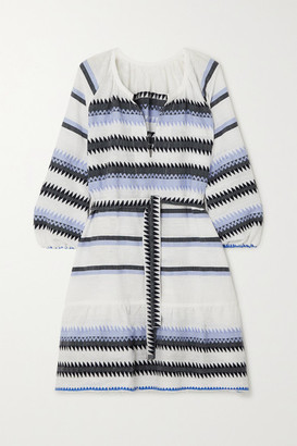 Lemlem Aster Belted Striped Cotton-jacquard Mini Dress - Blue