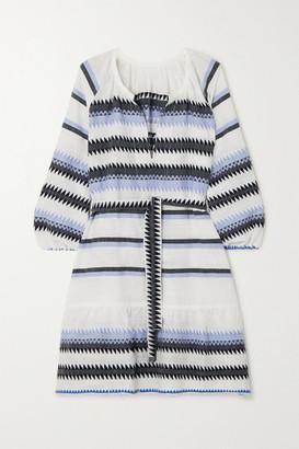 Lemlem Aster Belted Striped Cotton-jacquard Mini Dress - Blue