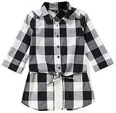 Takara Big Girls 7-16 Checked High-low Button-up Top
