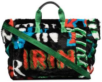 Kirin Logo-Print Faux-Fur Tote Bag